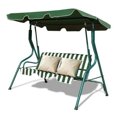 Costway 3 Seats Patio Canopy Swing Glider Hammock Cushioned Steel Frame Backyar Green ()