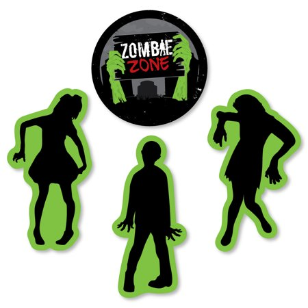 Zombie Zone - Shaped Halloween or Birthday Zombie Crawl Party Cut-Outs - 24 Count