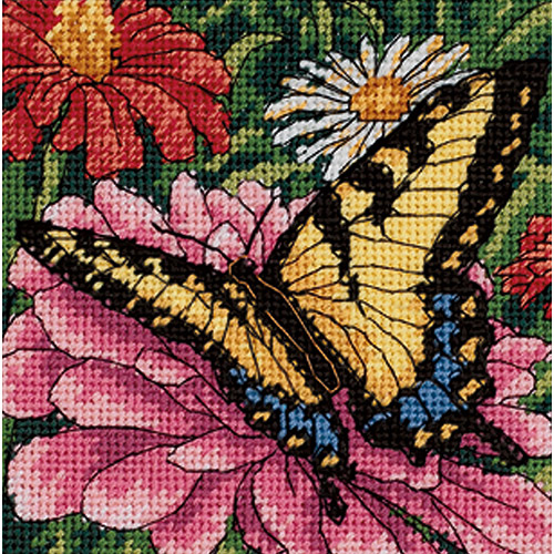 """Dimensions """"Butterfly On Zinnia"""" Mini Needlepoint Kit, 5"""" x 5"""", Stitched in Floss"""
