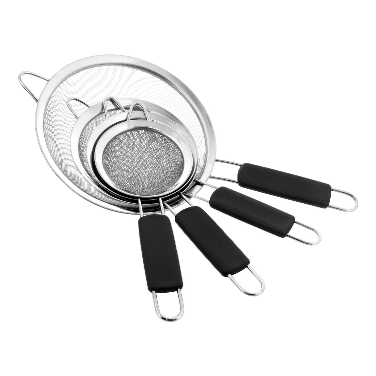 U.S. Kitchen Supply - Set of 4 Fine Mesh Stainless Steel Strainers with Comfortable Non Slip Handles