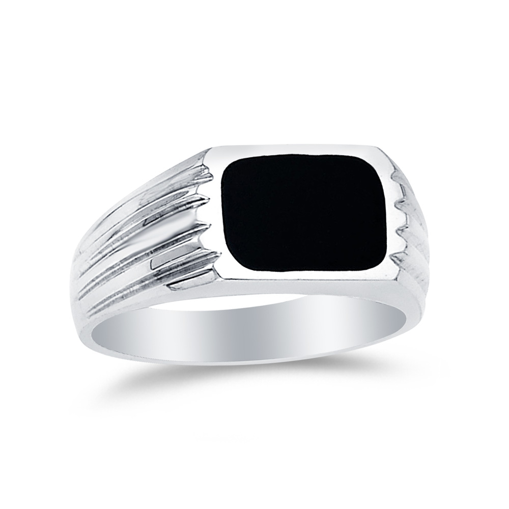 14k White Gold Black Onyx Men's Ring , Size 10