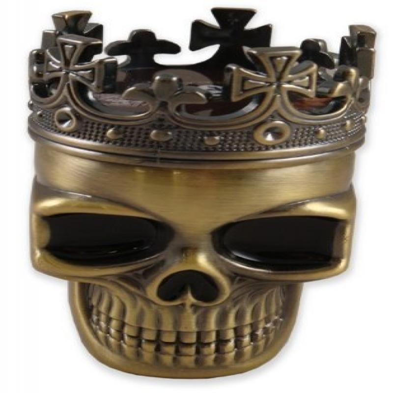Beyond Border Crowned King Skeleton Skull Metal Herb Spice Grinder Sifter Pollen Screen Storage Space Brass... by