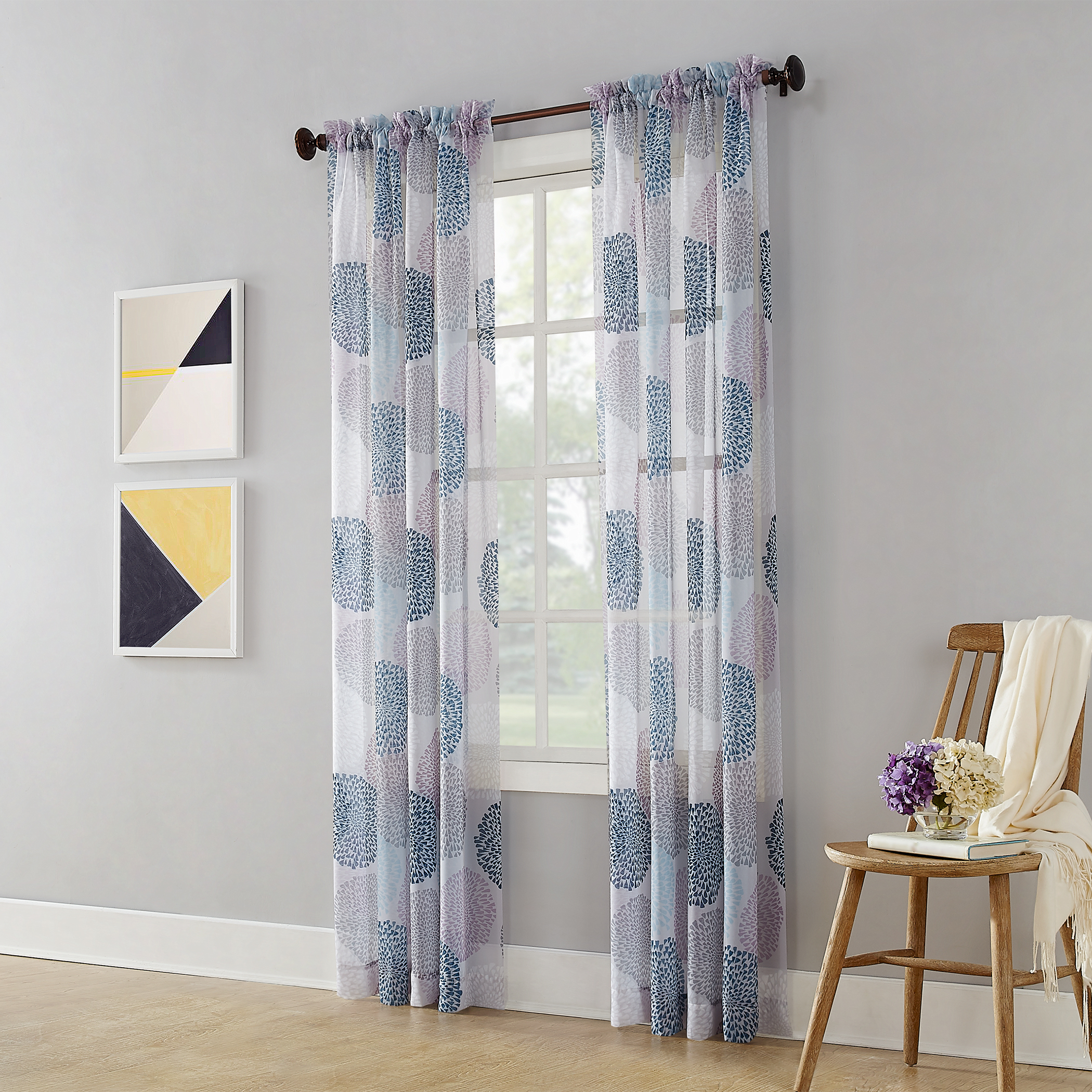 Mainstay Marjorie Sheer Voile Curtain Panel 59x84 Gray