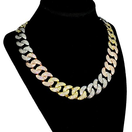 Men's Tri-Tone Cuban Chain Yellow Gold Rose Gold Silver Finish Iced Out Tritone Hip Hop Necklace 18