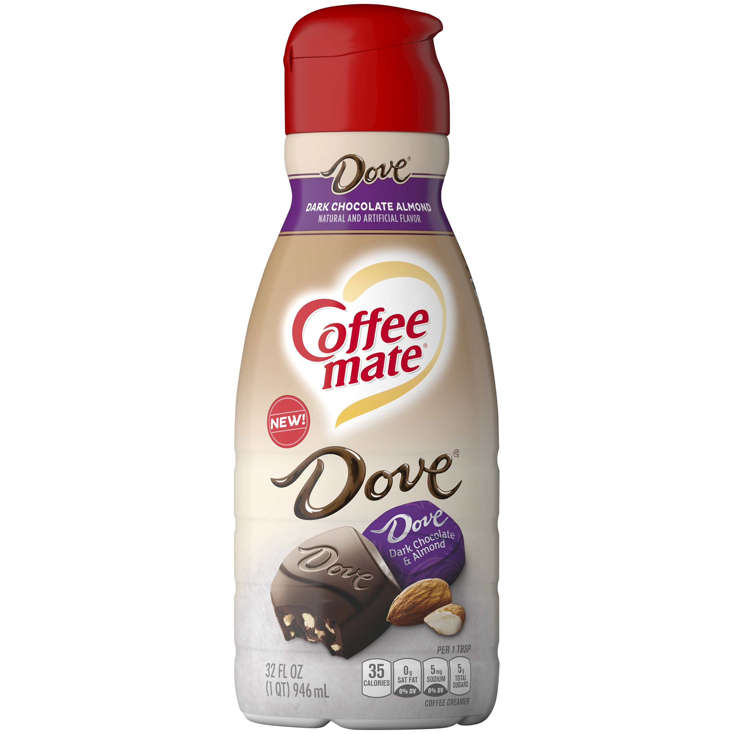 COFFEE MATE DOVE Dark Chocolate Almond Flavored Liquid Coffee Creamer, 32 Fl. Oz. Bottle | Non-Dairy, Lactose-Free, Cholesterol-Free, Gluten-Free Creamer