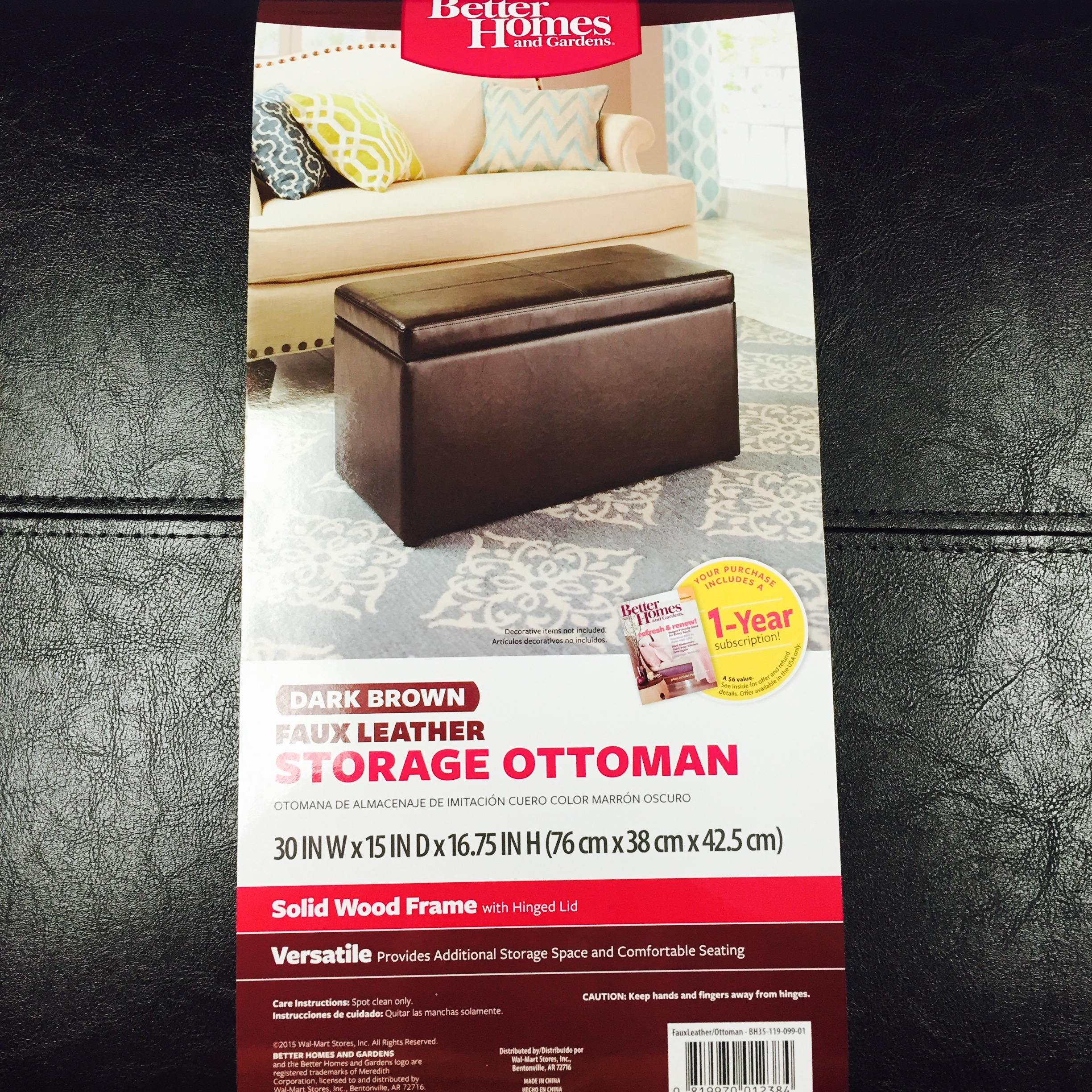 Better Homes&gardens 30 Inch Hinged Storage Ottoman by Generic