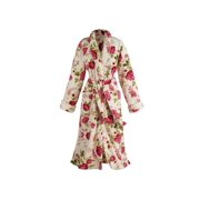 Women's Rose Print Long Robe - Floral Shawl Collar Bathrobe with Patch Pockets