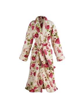 0e22ba4b70517 Product Image Women's Floral Print Long Cozy Wrap Bathrobe - Shawl Collar  Patch Pockets