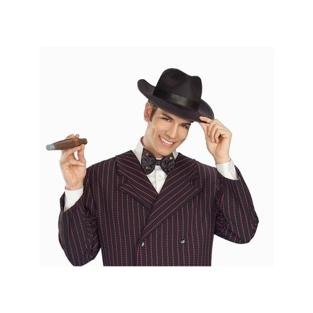 Halloween Gangster Hat Adult Black - Gangster Halloween Costumes Uk