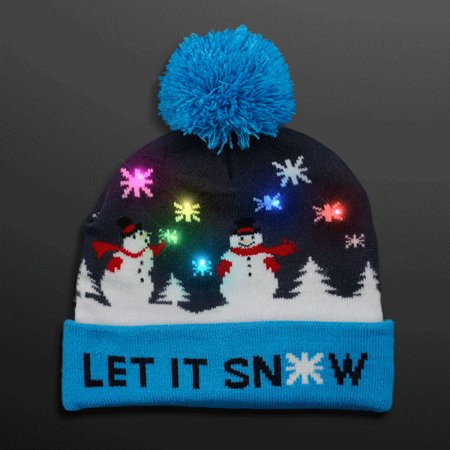 Multicolor LED Snowy Snowflake Winter Christmas Holiday Snowmen Beanie Hat by - Christmas Hats For Adults