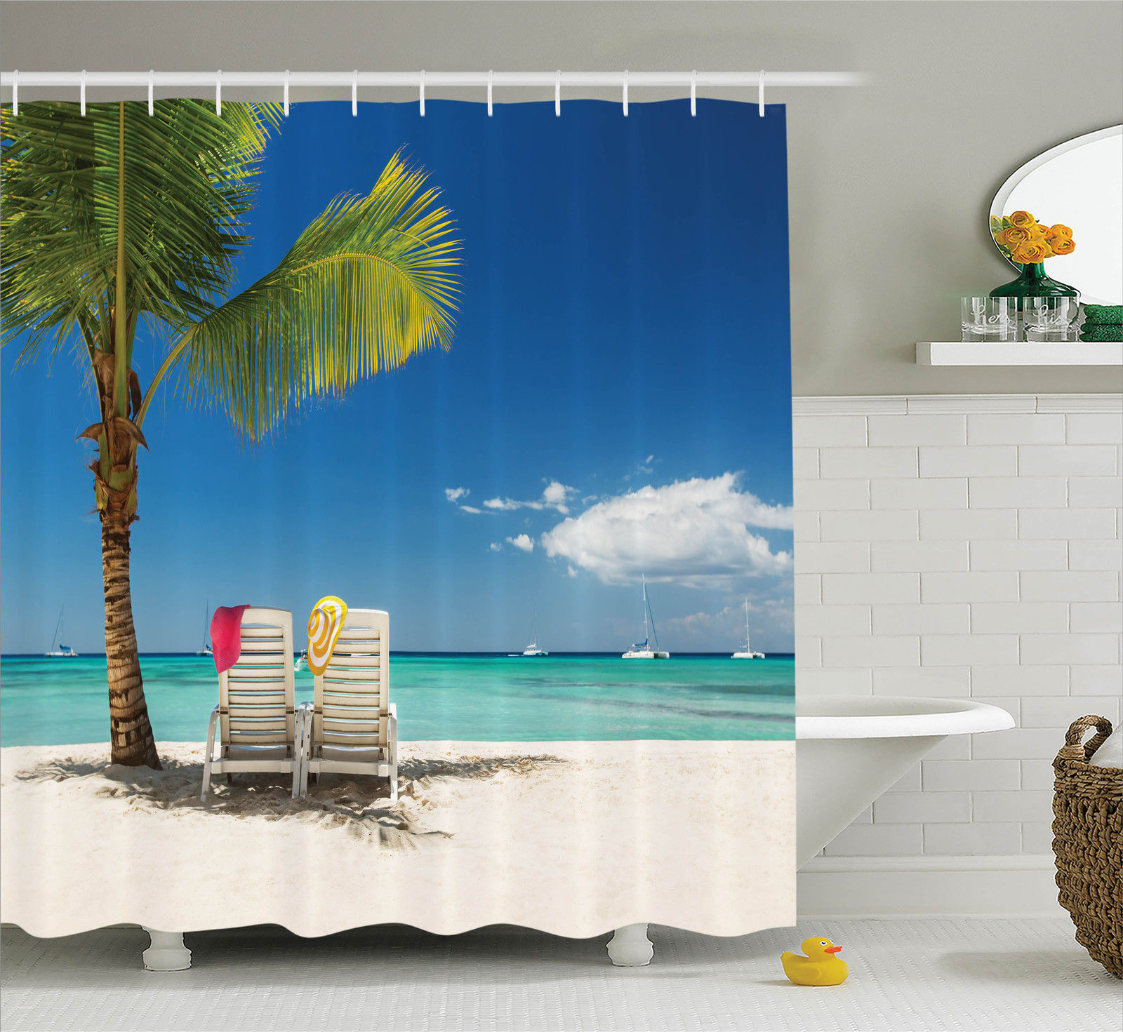 Seaside Decor Shower Curtain Set, Relaxing Scene On Remote Beach With Palm  Tree, Chairs And Boats Panoramic Picture, Bathroom Accessories, 69W X 70L  ...