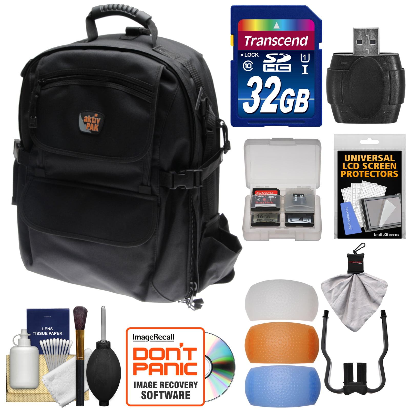 Image of Aktiv Pak AP400 Digital SLR Camera Backpack Case (Black) 32GB Card + Card Reader + Flash Diffusers + Accessory Kit