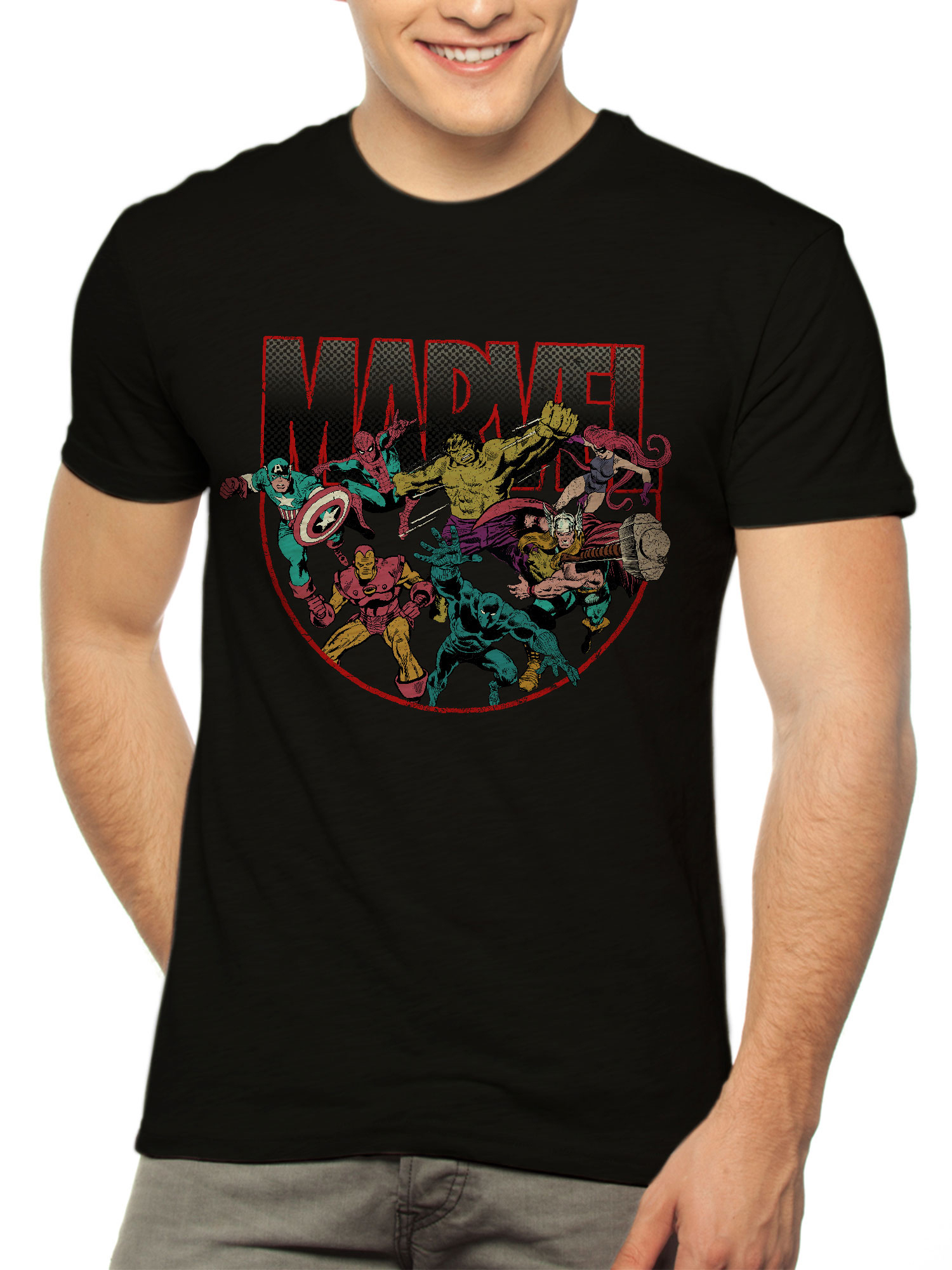 Marvel Avengers Comics Group Circle Shot Men's Graphic T-Shirt, up to Size 3XL