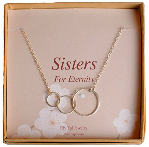 Three Sisters Necklace, 925 Sterling Silver Triple Interlocking Circles on Card