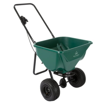 Lawn and Garden Spreader - 66 Pound Capacity Walk Behind Rotary Broadcast Dispenser for Fertilizer, Grass Seed, Sand and Salt by Pure