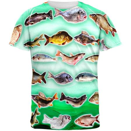 Saltwater Fish All Over Adult T-Shirt - Medium Old Atlanta Fish