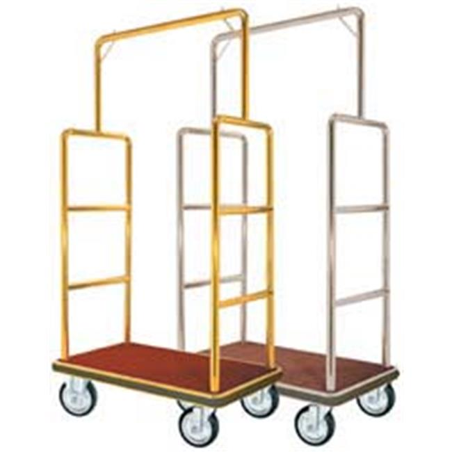 Aarco Products LC-1B-4P 1. 5 inch Tube Bellmans Luggage Cart - Brass