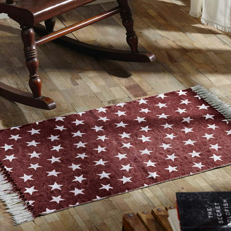 Americana Red Americana Flooring Multi Star Cotton Distressed Appearance Enzyme Washed Star Rectangle Accent Rug (Distressed Blue Wash)
