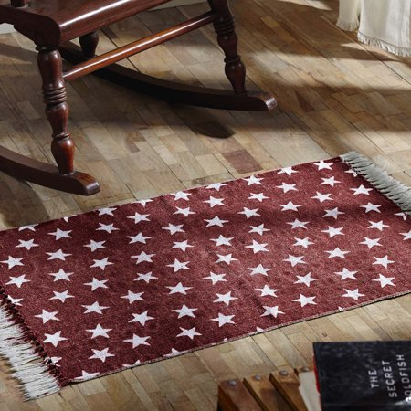 Americana Red Americana Flooring Multi Star Cotton Distressed Appearance Enzyme Washed Star Rectangle Accent Rug