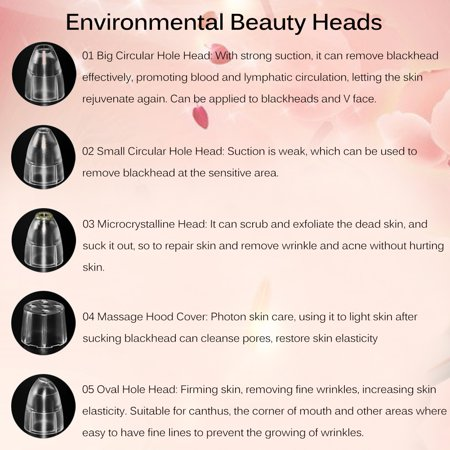 HURRISE Electric Blackhead Suction Removal LED Light Acne Pore Cleaner Skin Care Device, Skin Lifting Cleaner, Vacuum Blackhead Suction Device - image 8 of 11