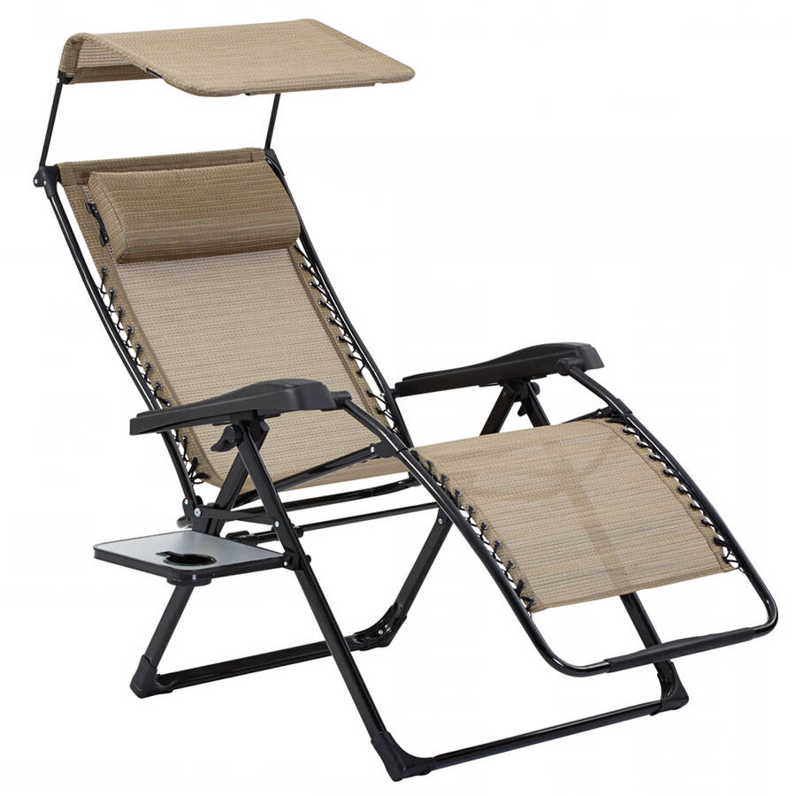 Incroyable Mainstays XL Zero Gravity Chair With Side Table And Canopy, Tan    Walmart.com