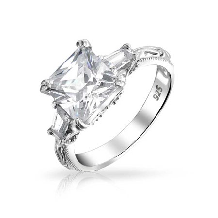 3 CT Square Brilliant Princess Cut AAA CZ Side Baguette Solitaire Engagement Ring Filigree Band 925 Sterling Silver ()