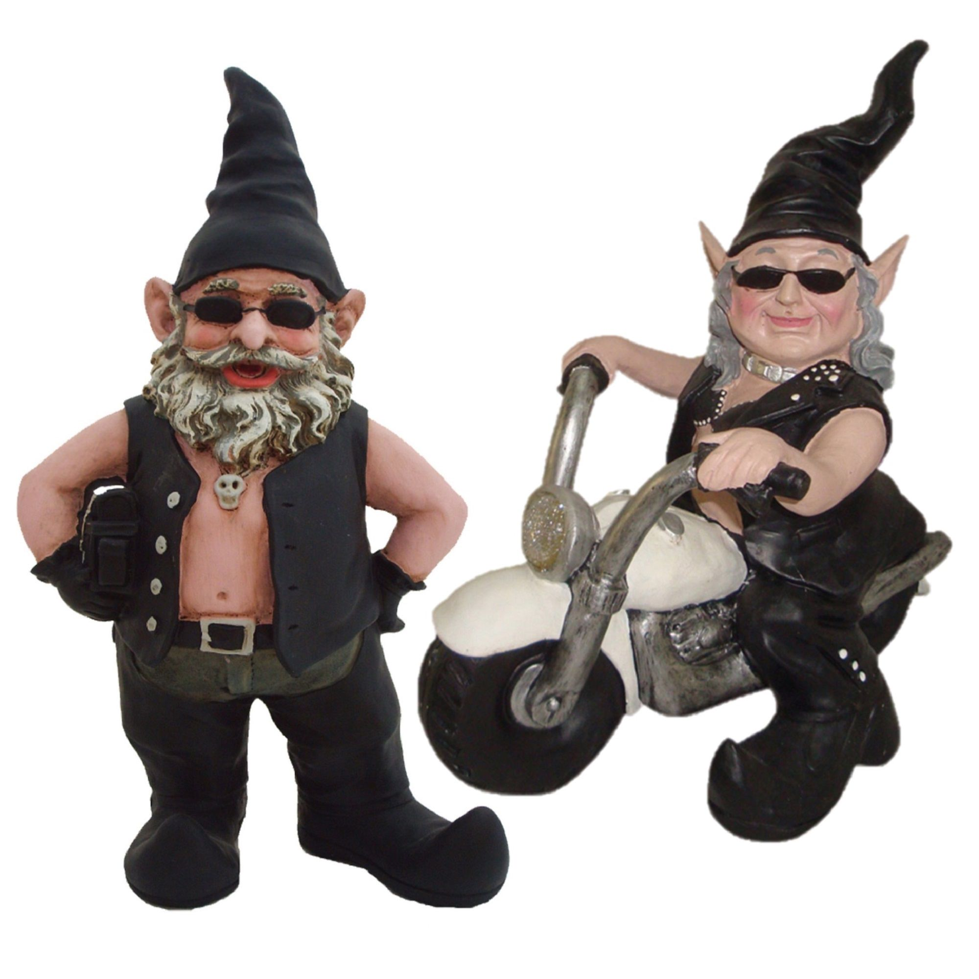 """""""Biker Dude"""" & """"Babe Babe"""" the Biker Gnome Riding Her White Bike in Leather Motorcycle... by GSI Homestyles"""