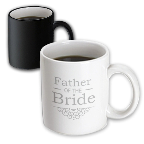 3dRose Father of the Bride in silver - Wedding - part of matching marriage party set - grey gray swirls, Magic Transforming Mug, 11oz