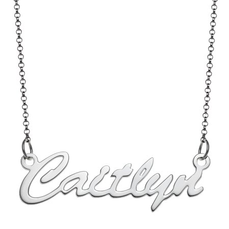 Personalized Gold Cartouche (Personalized Women's Silvertone or Goldtone Nameplate Necklace, 18
