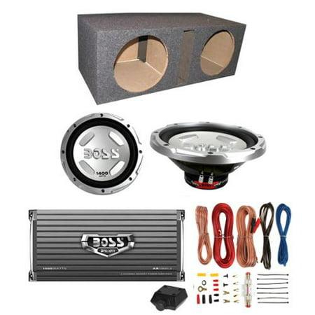 "2) BOSS CX122 12"" 3000W Car Subwoofers + Sub Box + 1600W Amplifier + Amp Kit by"