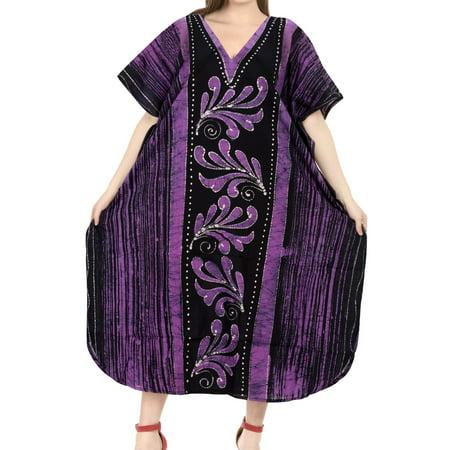 LA LEELA - Hand Paint Plus Size 100% Cotton Long Lounge Wear ...