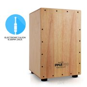 Pyle PCJD50 - Hybrid Acoustic / Electronic Cajon - Stringed Cajon with Built-in Pickup Connector, Internal Guitar Snare Strings