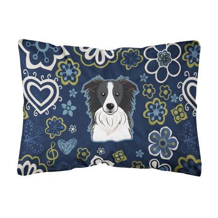 Blue Flowers Border Collie Canvas Fabric Decorative Pillow (Border Collie Fabric)