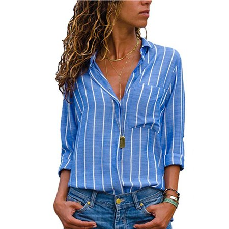 Womens Casual V Neck Striped Chiffon Blouses Long Sleeve Button Down Shirts Tops with Front Pockets
