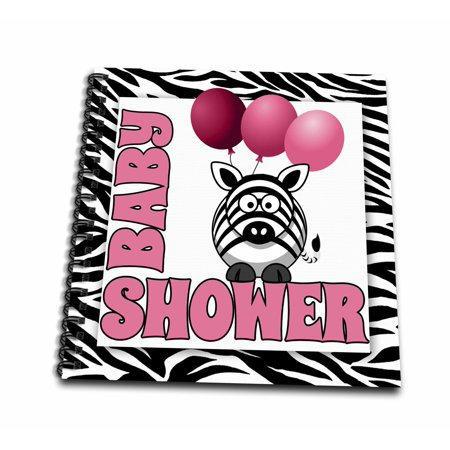 Zebra Print Baby Shower (3dRose Baby Girl Zebra Print Baby Shower Jungle Theme - Memory Book, 12 by)