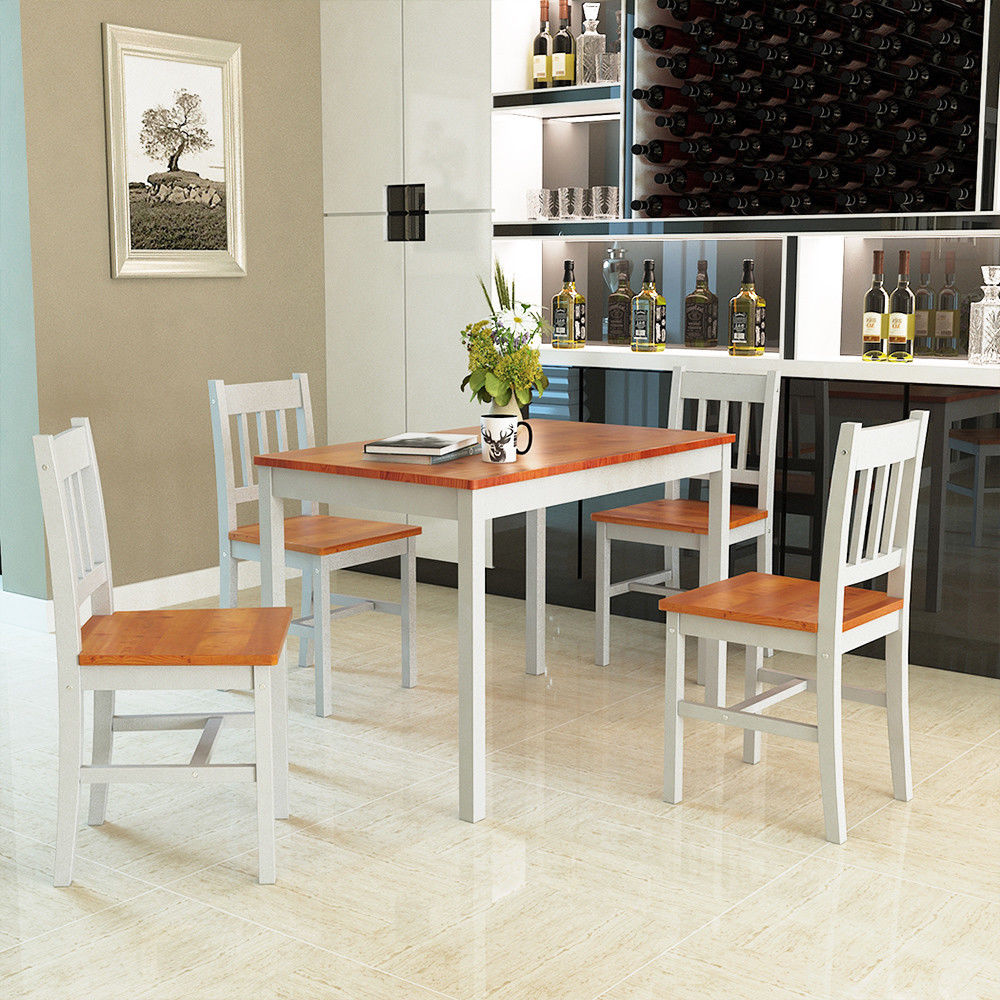 Gymax 5 Piece Dining Table Set 4 Chairs Solid Wood Home Kitchen Breakfast Furniture