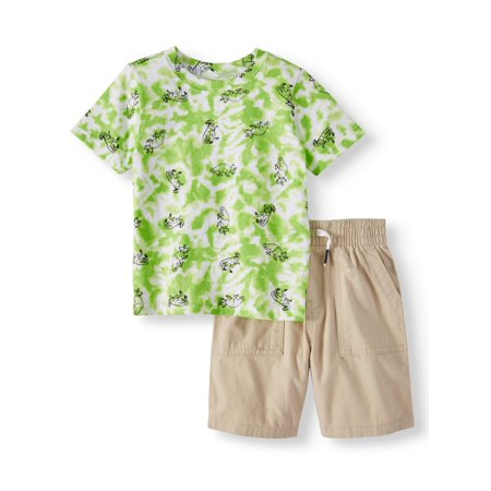 Garanimals Tie Dye T-Shirt & Canvas Utility Shorts, 2pc Outfit Set (Toddler Boys) - Toddler Boy Valentine Outfit