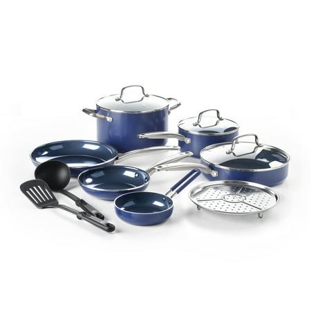 - Blue Diamond Toxin-Free Ceramic Non-Stick Cookware Set, 12-Piece - Dishwasher, Oven, Broiler, Metal Utensil Safe