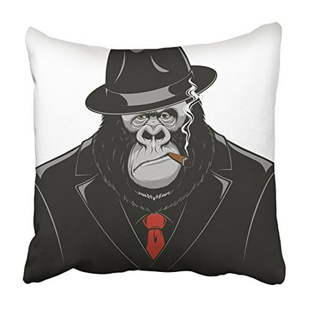 ARHOME Red Gorilla Monkey in Suit Gangster Black Mafia Ape Funny Hat Retro Animal Boss Pillowcase Cushion Cover 16x16 - Old Gangster Suits