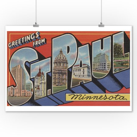 Greetings from St. Paul, MN (9x12 Art Print, Wall Decor Travel Poster) (Party City St Paul Mn)