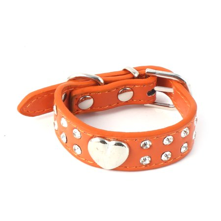 Faux Leather Artificial Rhinestone Heart Decoration Dog Collar Orange Size XXS](Dog Decorations)
