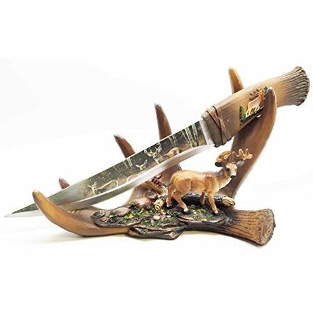 Rustic Six Point Buck Antler Display With Blunt Dagger Letter Opener Sculpture Figurine Gift for Hunters and - Display Letter