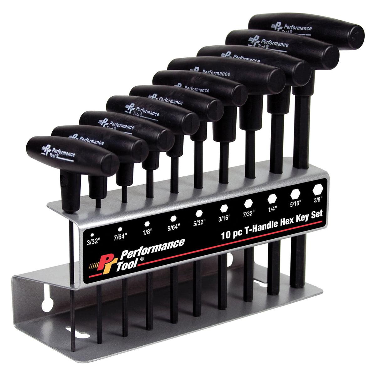 Performance Tool W80274 10pc SAE T-Handle Hex Key Set