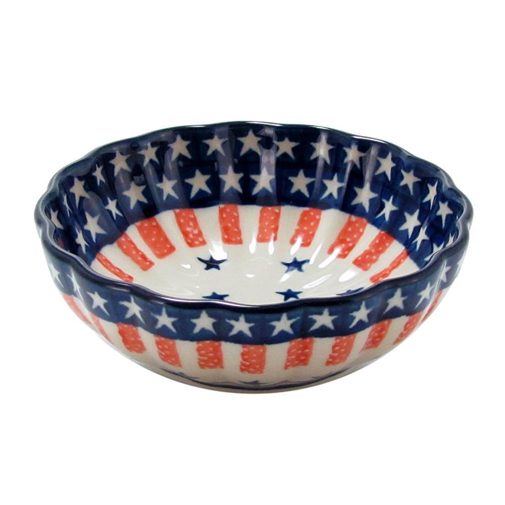 Polish Pottery 4.5'' Handmade Fluted Dessert Dish 023-Fireworks by