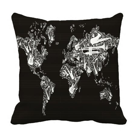 PHFZK Globe Pillow Case, World Map Silhouette Made with Musical Instruments Black and White Pillowcase Throw Pillow Cushion Cover Two Sides Size 18x18 (World Map Black And White High Resolution)