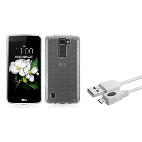 Insten Gel TPU Rubber Case For LG K7 - Clear (+ Micro USB Cable Charge & Sync)