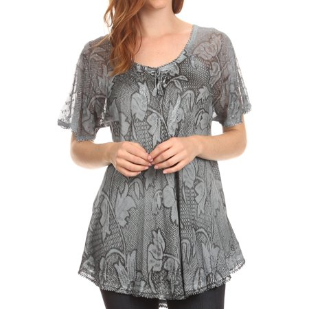 Blue Casual Lace (Sakkas Maliky Wide Corset Neck Floral Embroidered Cap Sleeve Blouse Top Shirt - Grey - One Size Regular )