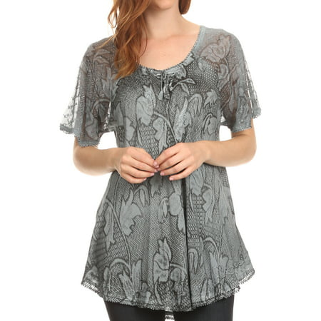 Sakkas Maliky Wide Corset Neck Floral Embroidered Cap Sleeve Blouse Top Shirt - Grey - One Size Regular - Punk Suit