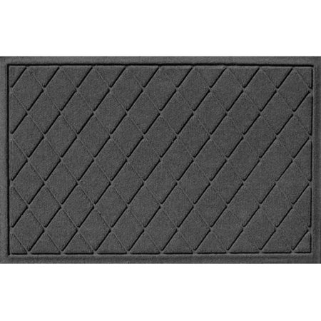 Bungalow Flooring 20377540023 Water Guard Argyle Mat in Charcoal - 2 ft. x 3 ft.