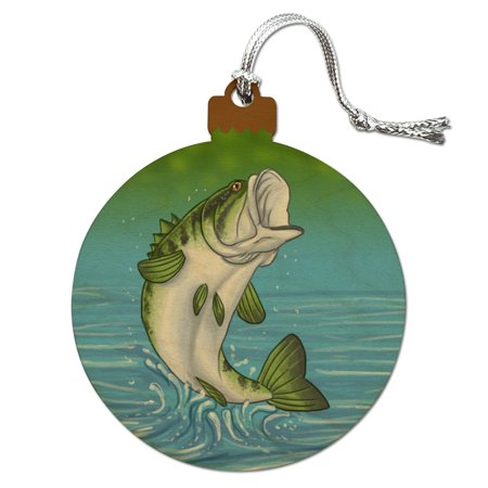 Bass Fish Jumping out of Water Fishing Wood Christmas Tree Holiday Ornament